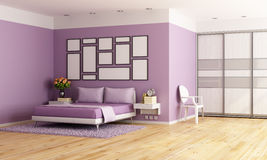 Purple modern bedroom Royalty Free Stock Images