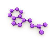 Purple molecule concept rendered on white Stock Photos