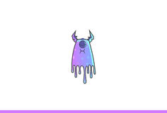 Purple Monster Annoyed. Vector Illustration. Isolated on white background Stock Image