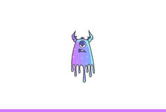 Purple Monster Annoyed. Vector Illustration. Isolated on white background Stock Photos