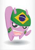 Purple Monster With Brazil Flag Headband. Cheerful and funny Stock Image