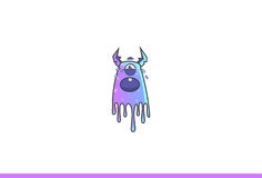 Purple Monster Crying. Vector Illustration. Isolated on white background Stock Images
