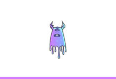 Purple Monster Disgusted. Vector Illustration. Isolated on white background Stock Photo