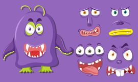 Purple monster and facial expression. Illustration stock illustration