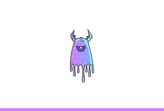 Purple Monster Happy. Vector Illustration. Isolated on white background Stock Photography