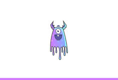 Purple Monster Happy. Vector Illustration. Isolated on white background Royalty Free Stock Images