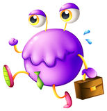 A purple monster with a new job. Illustration of a purple monster with a new job on a white background Stock Images