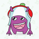 Purple Monster With Red and White Head Phone Stock Photography