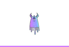 Purple Monster Sad. Vector Illustration. Isolated on white background Stock Photography