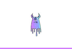 Purple Monster Sick. Vector Illustration. Isolated on white background Royalty Free Stock Image