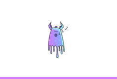 Purple Monster Sleeping. Royalty Free Stock Image