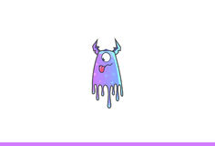 Purple Monster Teasing. Vector Illustration. Isolated on white background Royalty Free Stock Image