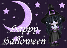 Purple Moon & Stars and Halloween Witch. Designed with purple moon and stars. Then sparkle was added with more stars. Then a young little witch with matching vector illustration
