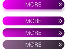 Purple more web buttons isolated on white. Purple spectrum more web buttons with arrow isolated on white background. Vector illustration Royalty Free Stock Photography