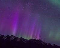 Purple Mountain Majesty. Northern Lights display in Alaska, taken April 2014 Stock Photos