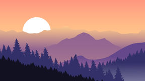 Purple mountains on a background of pink sky. Royalty Free Stock Photos