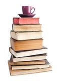 Purple Mug On Books Royalty Free Stock Photography