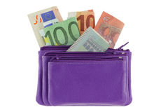 Purple multi layered leather zippered coin pouch with Euro banknote Royalty Free Stock Photos