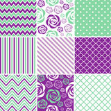 Purple & Munt Naadloze Patronen Stock Afbeeldingen