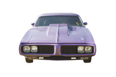 Purple muscle car front view Royalty Free Stock Image