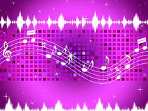 Purple Music Background Means Sparkling Sqaures And Party Royalty Free Stock Images
