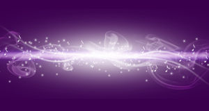 Purple music background with white bright line and notes. Stock Images