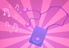 Purple music player on a pink background. Royalty Free Stock Photos