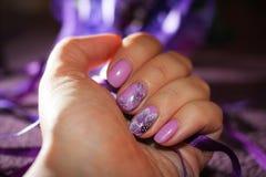 Purple nail design royalty free stock photo