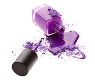 Purple nail polish with eye shadow Stock Images