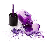 Purple nail polish with eye shadow Stock Photos