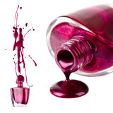 Purple nail polish splash Stock Images