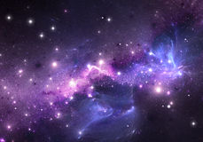 Purple nebula and stars. Space background Stock Photos