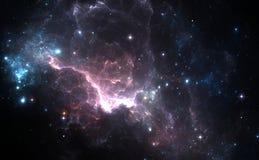 Purple nebula and stars Royalty Free Stock Photo