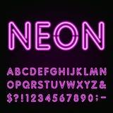 Purple Neon Light Alphabet Font. Stock Photos