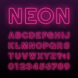 Purple neon tube alphabet font. Neon color letters, numbers and symbols. Stock vector typeface for any typography design royalty free illustration