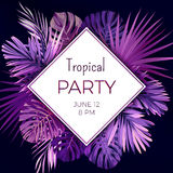 Purple neon vector floral banner template for summer beach party. Tropical flyer with exotic palm leaves and plants. Royalty Free Stock Images