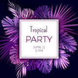 Purple neon vector floral banner template for summer beach party. Tropical flyer with exotic palm leaves and plants. Royalty Free Stock Photography