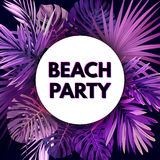 Purple neon vector floral flyer template for summer night party. Tropical background with exotic palm leaves and plants. Stock Photos