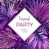 Purple neon vector floral flyer template for summer night party. Tropical background with exotic palm leaves and plants. Stock Images