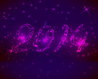 Purple new year background. Purple background with abstract swirl 2014 sign Stock Photos