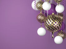 Purple new year background with golden balls. And scroll royalty free illustration