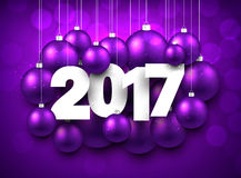 Purple 2017 New Year background. Violet 2017 New Year background with Christmas balls. Vector illustration Stock Images