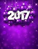 Purple 2017 New Year background. Violet 2017 New Year background with Christmas balls. Vector illustration Royalty Free Stock Photography