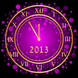 Purple New Year clock. Vector illustration of purple New Year clock Royalty Free Stock Images