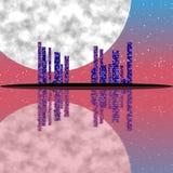 Purple night, cityscape illustration with lighting buildings on island Stock Photos