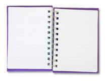 Purple Note Book. Purple cover of open white note book Stock Images