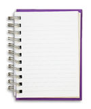 Purple Note Book. Purple cover of open white note book Stock Photos