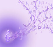 Purple  notes are flying from violin clef 2. Royalty Free Stock Photos