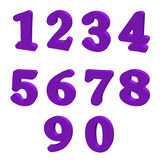 Purple numbers. 3D numbers 0-9 in purple color Royalty Free Stock Photography