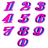 Purple numbers 3D Stock Photos
